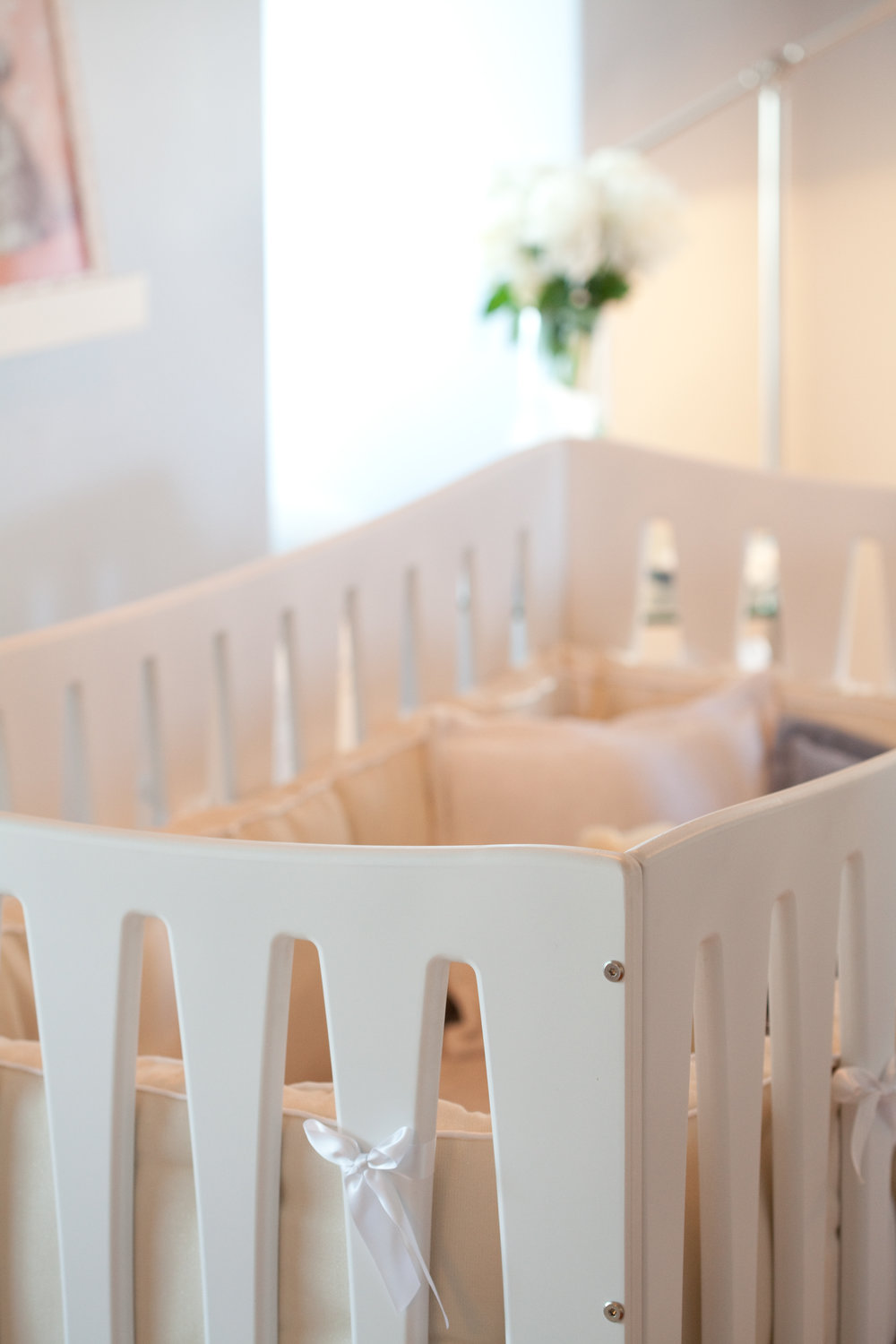 crib, nursery, white, modern, soft tones, soft textures, window, lighting