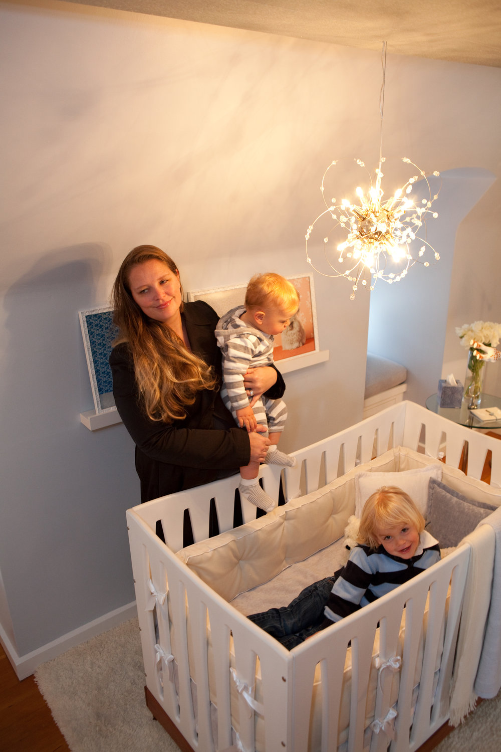 nursery, crib, modern, babies, white, baby blue, chandelier