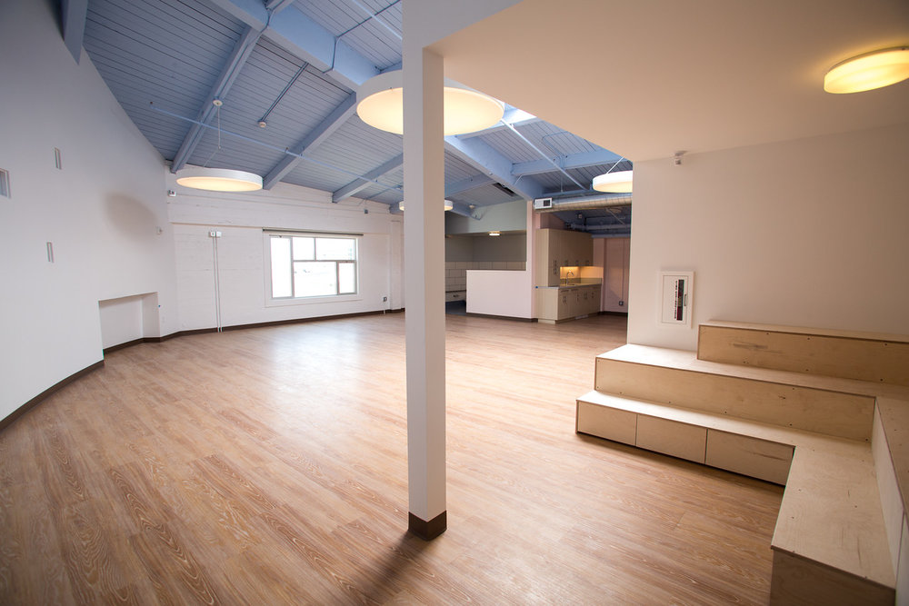 open, modern, white, clean, san francisco school, elementary, architecture, children's space, wood, break room