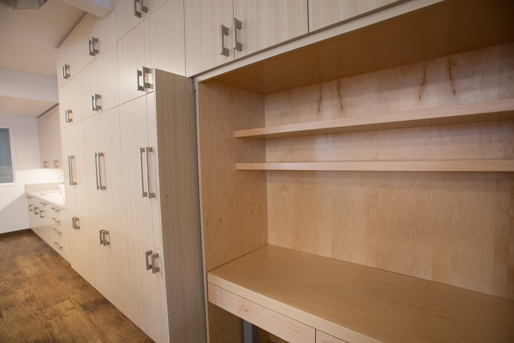 bathroom, locker, wood, simple, white, children's space, elementary school, shelving, storage