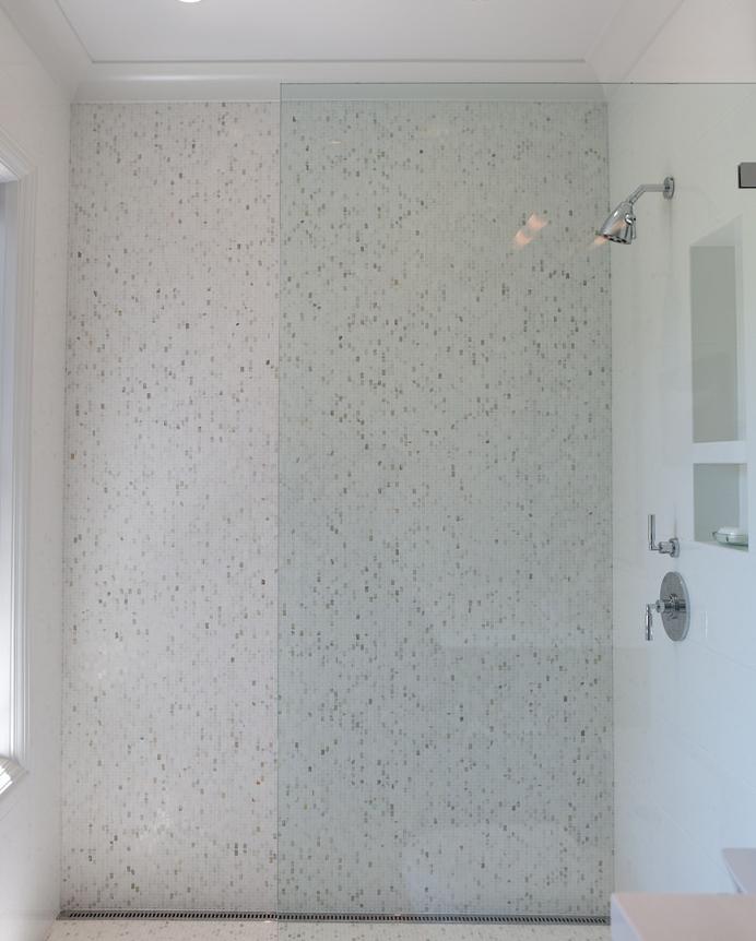 bathroom, shower, subway tile, marble tiles