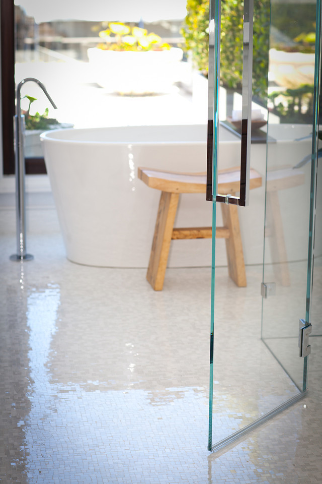 bathroom, shower, tub, bath, modern bathroom, moasic tiles