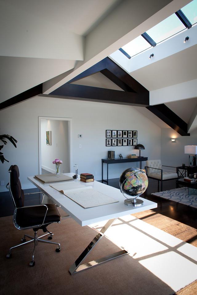 office space, desk, modern desk, white desk, attic remodel