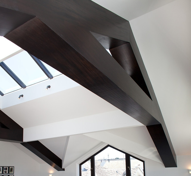 attic remodel, wood beam details, skylight