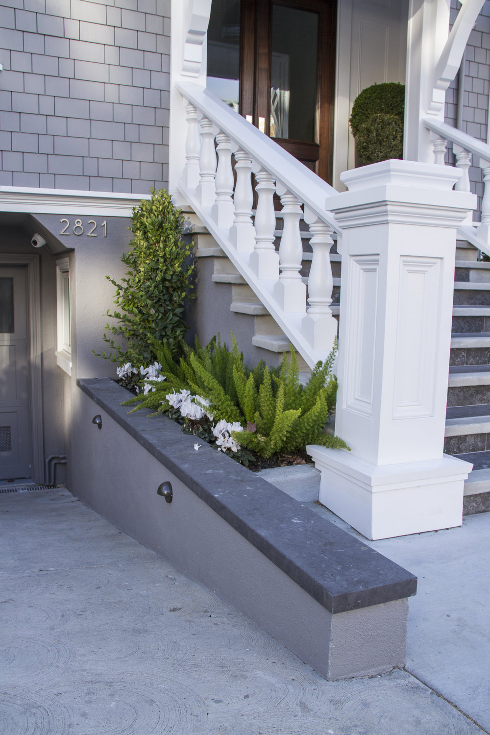 exterior, white, staircase, marble, driveway, san francisco homes, outdoor plants