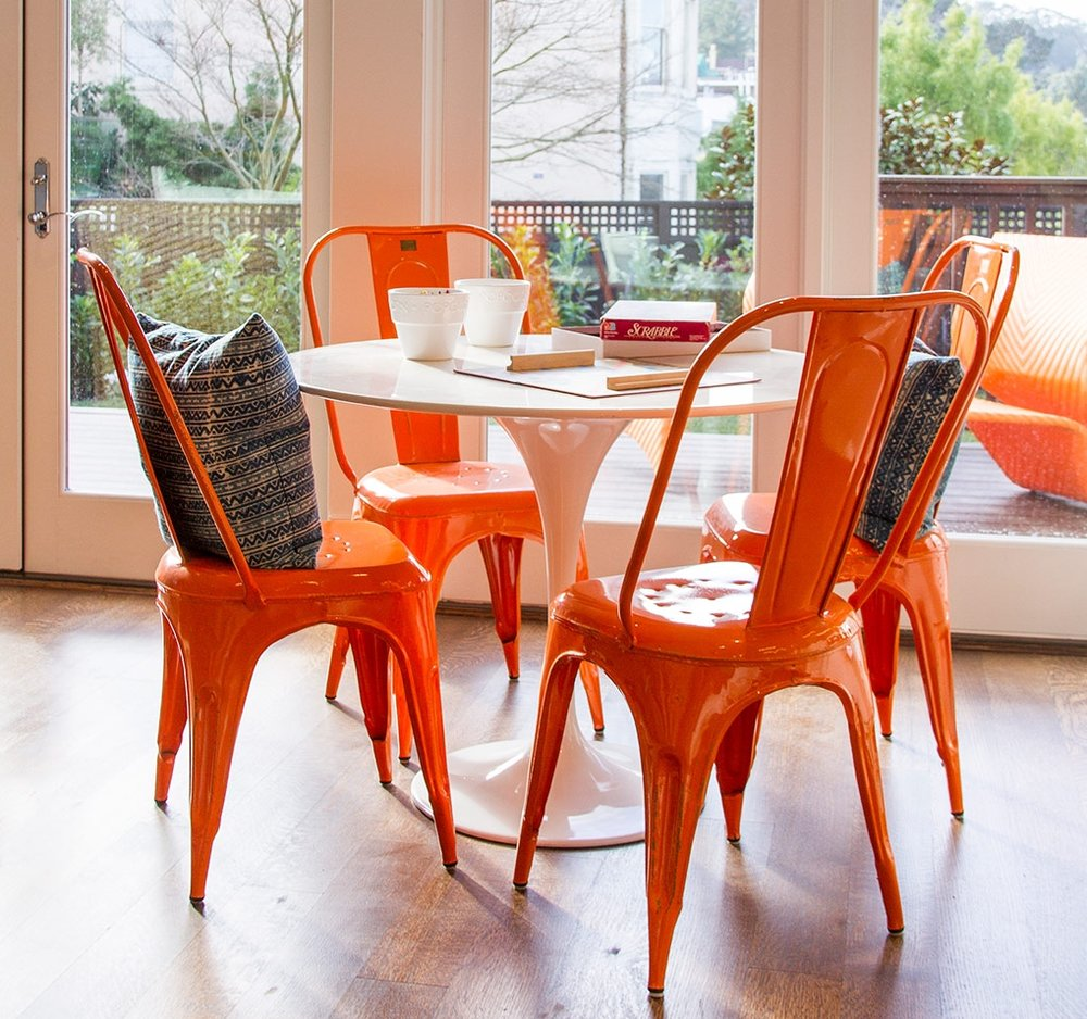 modern, dining room, dining table, dining chairs, orange, color, hardwood floor, window, light, open space