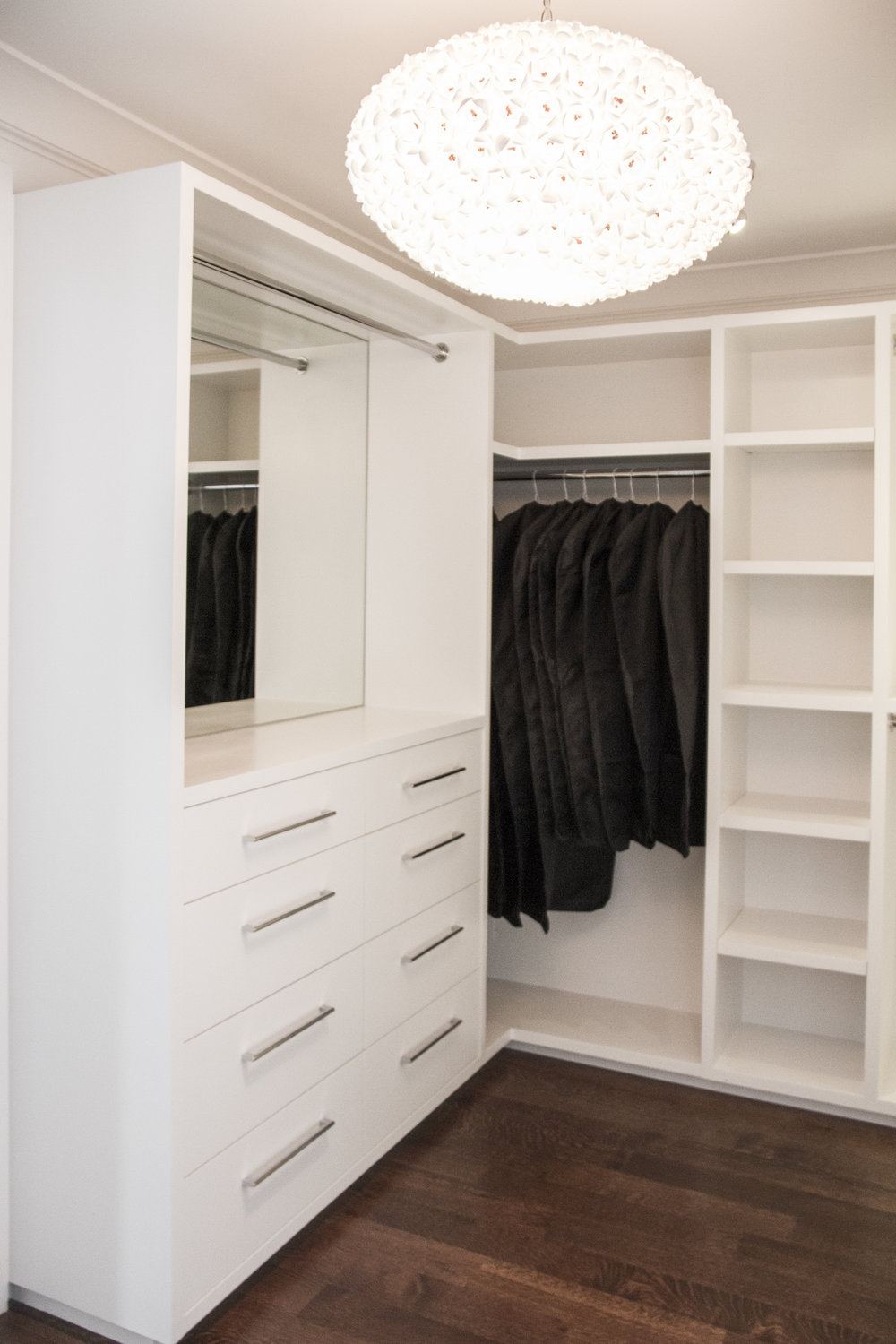 closet, white, modern, storage, wardrobe, hangers, clothes, clothes rack, hardwood floor