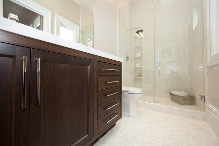 Bathroom, stained cabinetry, dark wood, shower, modern, tile, marble