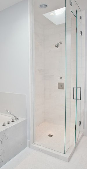 shower, modern, marble, tiling, chevron tile