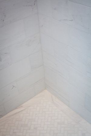 carrara marble, herringbone marble, shower, modern, white, fresh