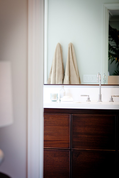 modern vanity, bathroom, mirror, modern, dark stained wood