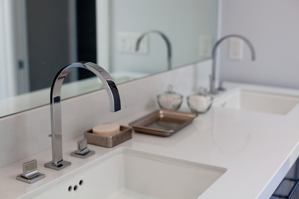 modern, faucet, bathroom, vanity, polished nickel, quartz