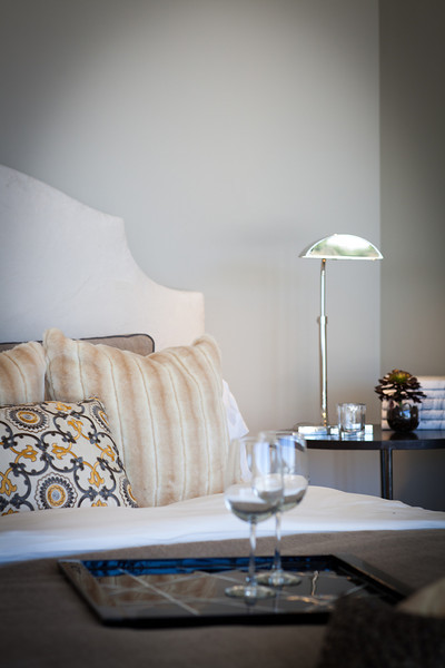 Lighting, lamp, detail, bedroom, pillows, side table, tray, headboard