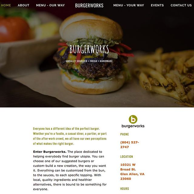Need some inspiration for today's lunch? Look no further. 😋 • #tbt to our site design and custom photo shoot with @burgerworksrva 🍔 • #buildingbrands #branding #design #creativeminds #bevisuallyinspired #thecreatorclass #makersgonnamake #peoplescreatives #everydayrva #rvacommunity #designmind #designisinthedetails #seekthesimplicity #visualarchitects #shareyourwork #artofvisuals #thedesigntip #designspiration #indesign #enjoytheprocess  #branddevelopment #advertising #supplyanddesign #tbt #photoshoots #lifestyleshoot #restaurantbranding #menudesign #webdesign
