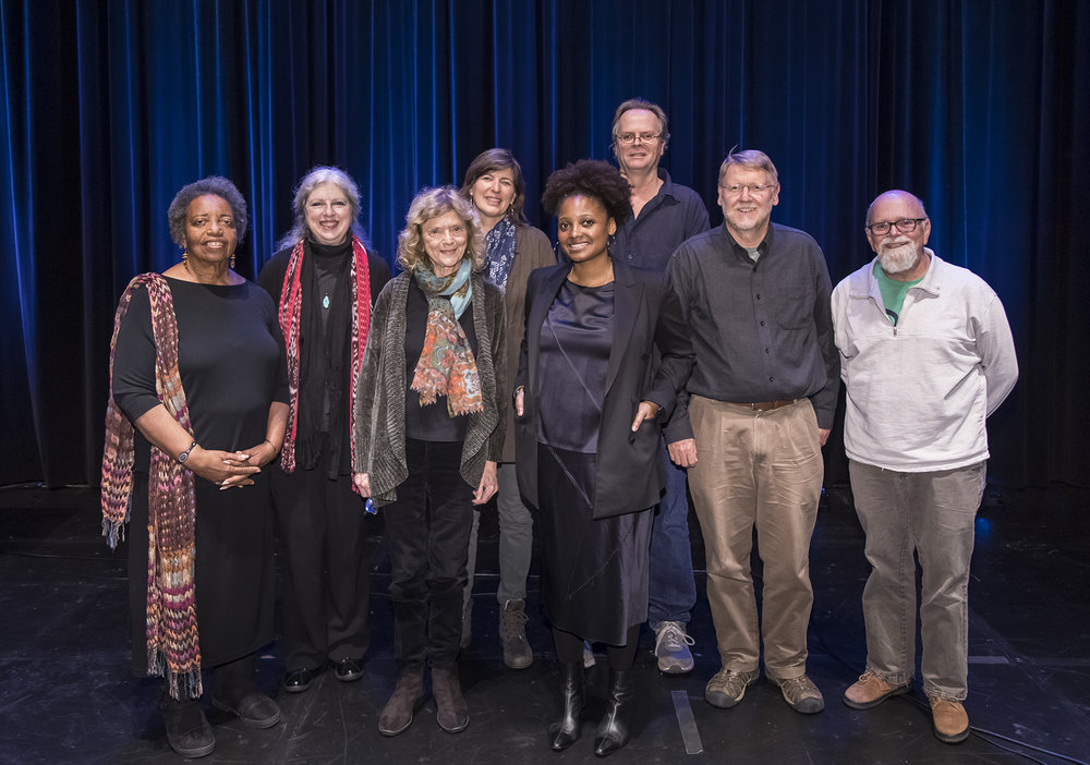 Image by David Bazemore  Left to right: Sojourner Kincaid Rolle,  Santa Barbara Poet Laureate;  Enid Osborn,  Santa Barbara Poet Laureate (current ); Perie Longo,  Santa Barbara Poet Laureate;  Chryss Yost,  Santa Barbara Poet Laureate;  Tracy K. Smith,  United States Poet Laureate (current);  David Starkey,  Santa Barbara Poet Laureate ; Paul Willis,  Santa Barbara Poet Laureate  and Phil Taggart,  Ventura County Poet Laureate (current).