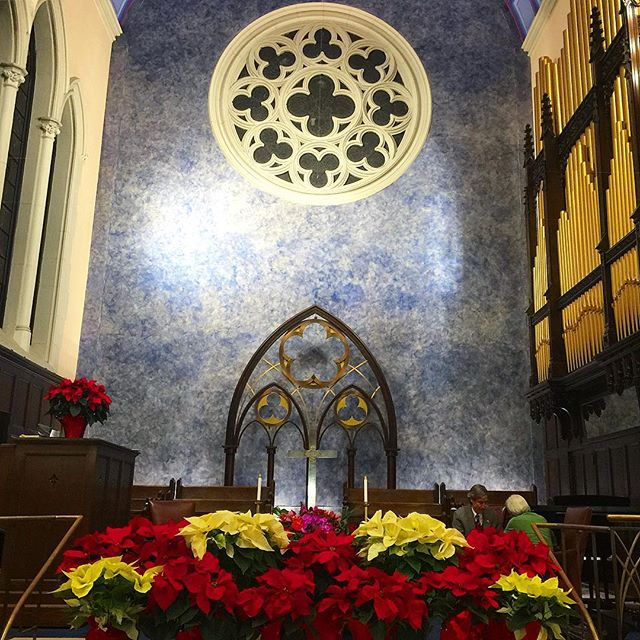 The sanctuary with our poinsettias