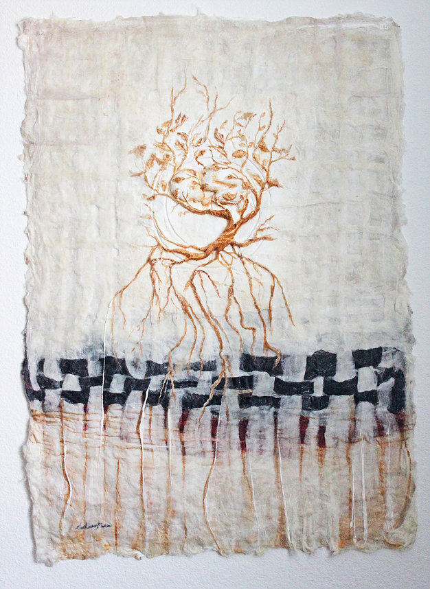"""Born Once Again"" by Catherine Foster   Mixed Media Silk Fibers, Paper Sculpture, Rust paint"
