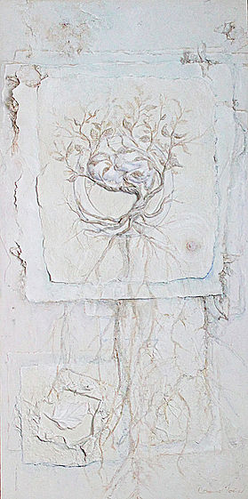 """New Beginnings"" by Catherine Foster  hand made paper sculpture, on canvas mixed media"