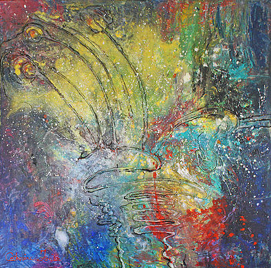 Weeding  4'x4' wood panel mixed media  (Sold)