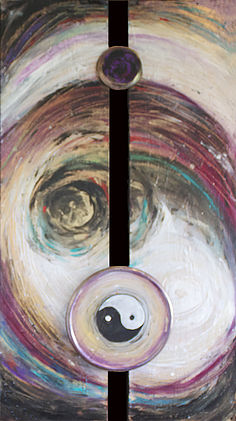 Balancing   mixed media on wood panel  (Available)