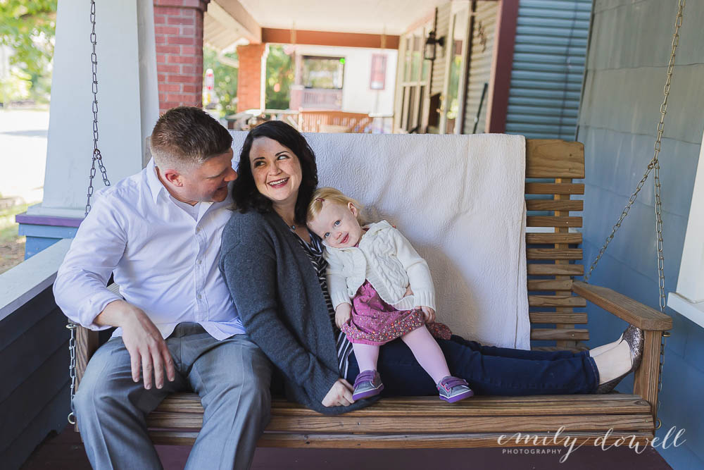 Family photo on porch swing