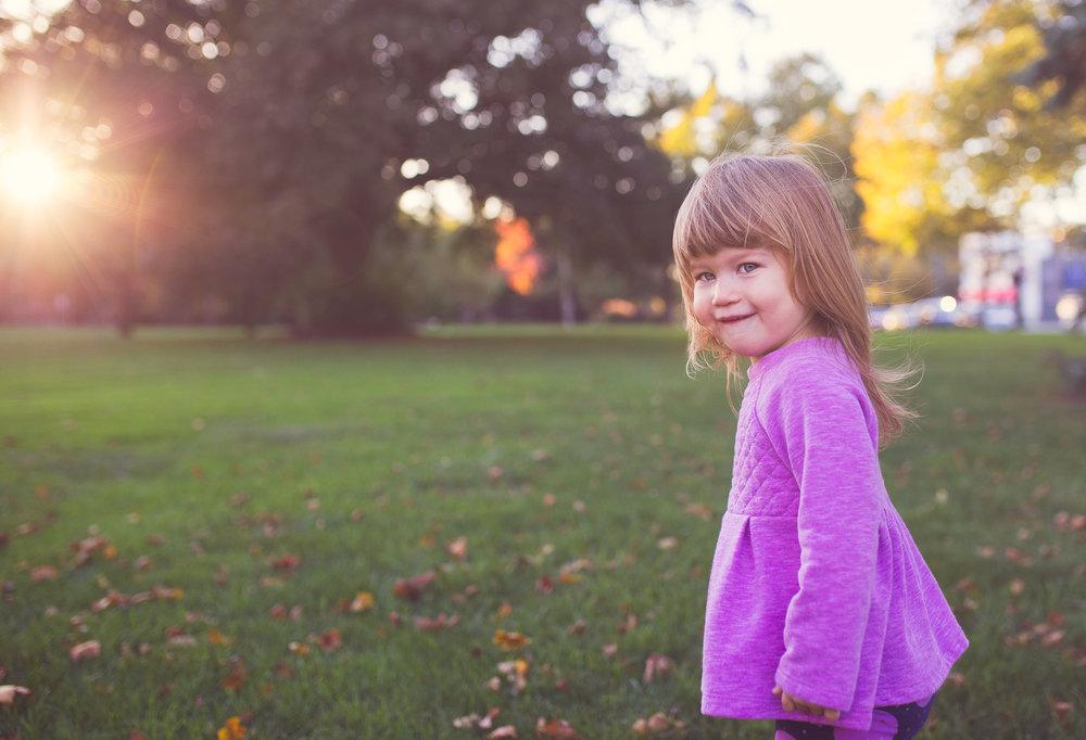 sunset portrait of little girl