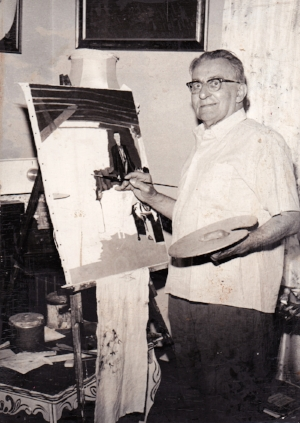 - My grandfather Ferdinand F. Vermier painting at his easel in his 80s.