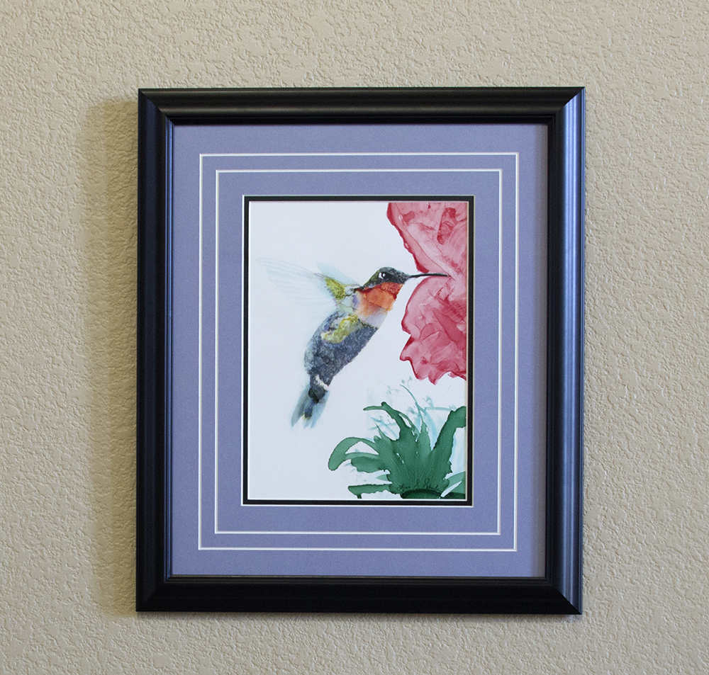 """Eyes Delight"" is a commissioned ruby throated hummingbird painting."