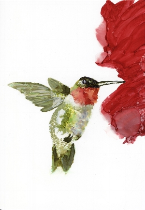 One of the studies I did for the hummingbird commission turned into an original painting that was accepted into a juried show in Bedford, Mass. I sell prints on my  Etsy  site.