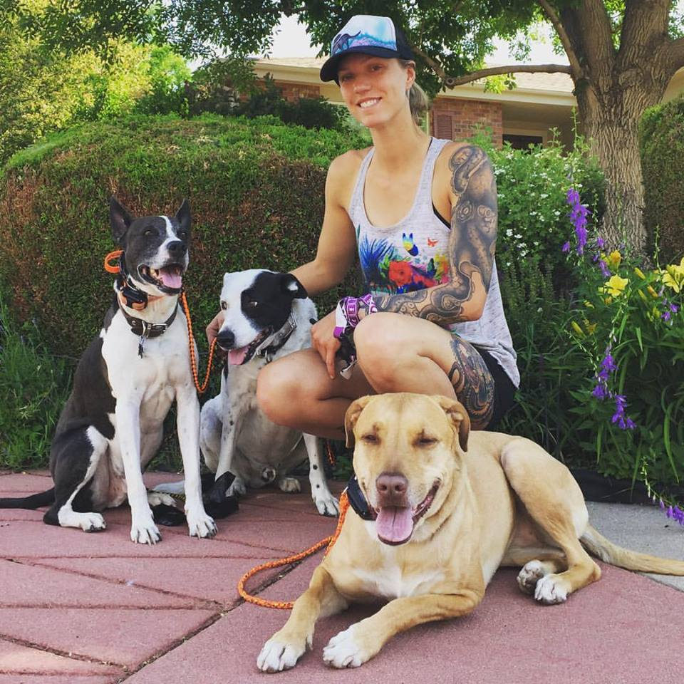 Liz and her three dogs- J-Roc, T, and Willow.