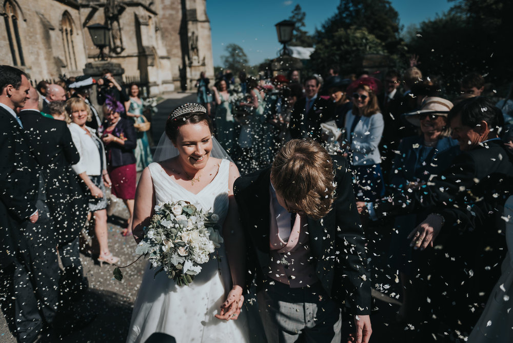 Hamswell House Wedding Photographer - Confetti Throwing Over Bride And Groom