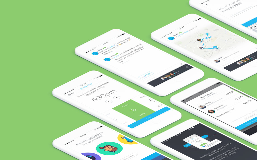 Ride lets users seamlessly match with other riders and split the cost of their commute. The product was relaunched, in iOS & Android versions, as a chat-based mobile app. We also launched a web dashboard, responsive marketing website, and an internal analytics platform. - SEE THE WORK