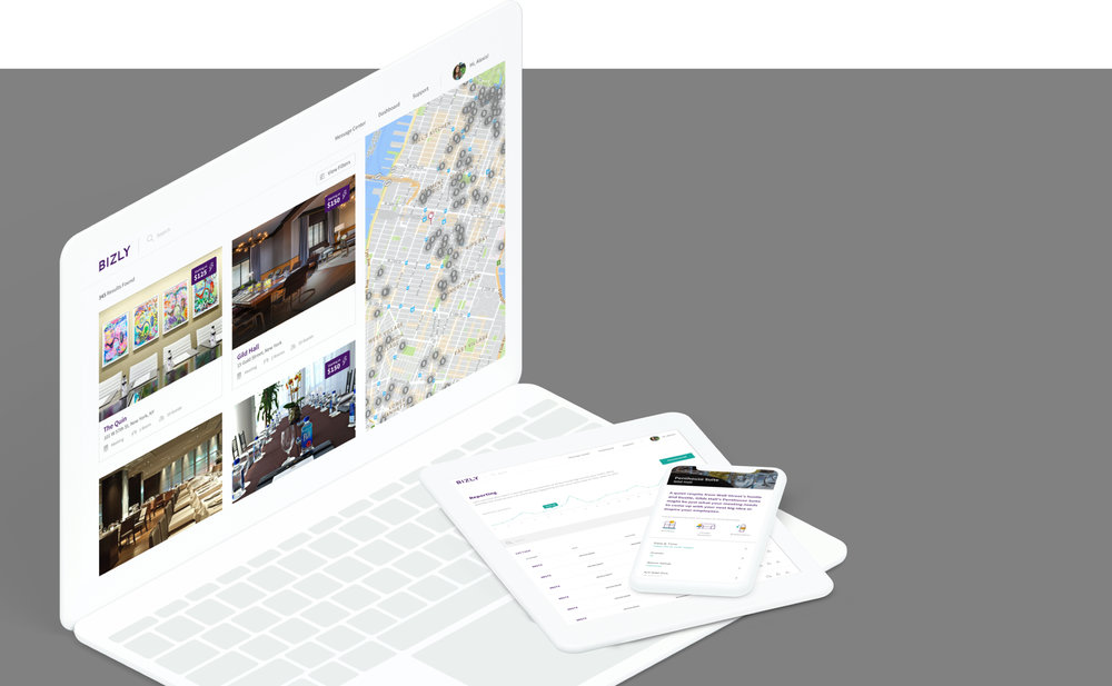 Bizly allows you to easily browse local meeting spaces by the hour. Version 2.0 of the product included a brand and identity refresh, feature ideation, product ux/ui design for the web app, ios app, and a new responsive web design. - SEE THE WORK