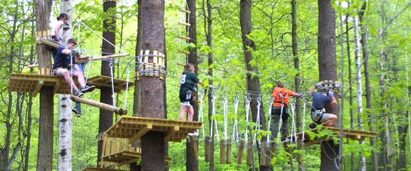 Students at Sandy Spring Adventure Park - the largest zipline park in North America!