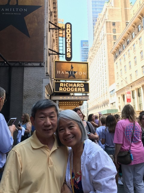Jo Anne and her husband outside of  Hamilton