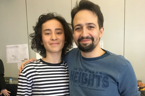 YAA Alum and star of Kennedy Center's IN THE HEIGHTS, Mateo Ferro, poses with playwright, Lin-Manuel Miranda.