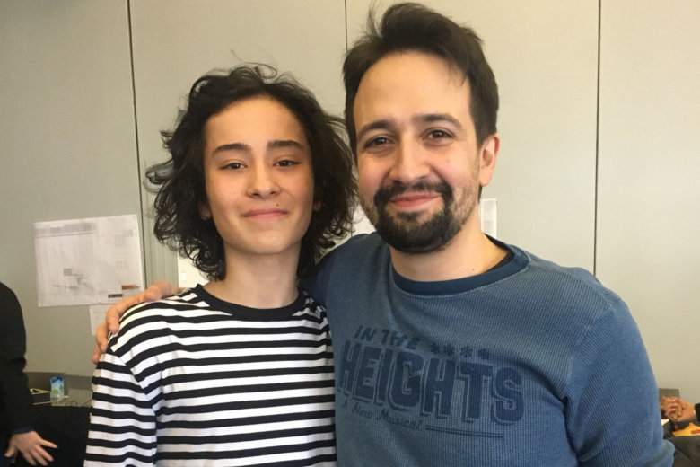 YAA Student, Mateo Ferro, with the visionary Lin-Manuel Miranda, while in rehearsals for the Kennedy Center's production of IN THE HEIGHTS.