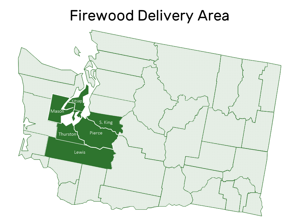 We deliver firewood to Thurston, Pierce, Mason, Kitsap, Lewis, and South King counties on Tuesdays and Thursdays (Saturdays by appointment only) except for all major U.S. holidays. If you would like a quote for firewood delivery outside of theses areas, please  give us a call .