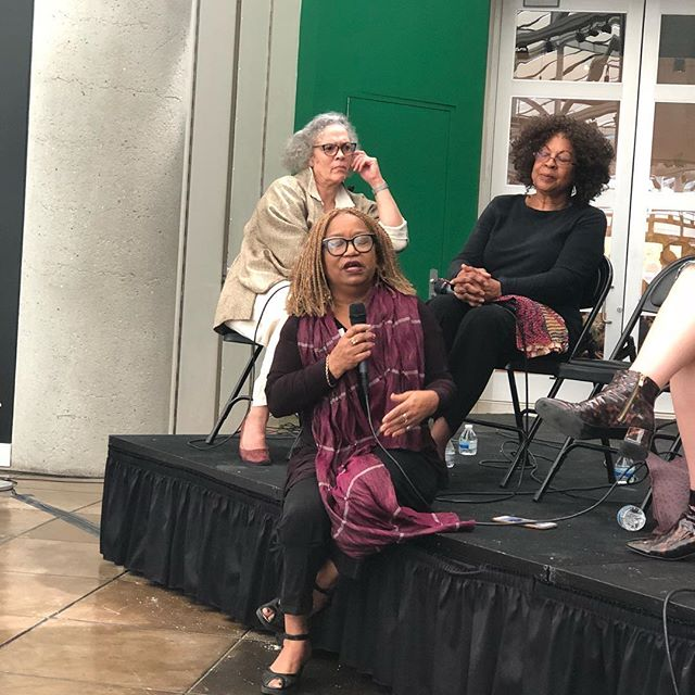 @SengaNengudi with Maren Hassinger, Barbara McCullough, and Isabel Wade at California African American Art Museum. Great conversation about black women artists in Los Angeles in the 70s and 80s in conjunction with the exhibition I co-curated, Improvisational Gestures, at USC's Fischer Art Gallery. #caam #fischerartgallery