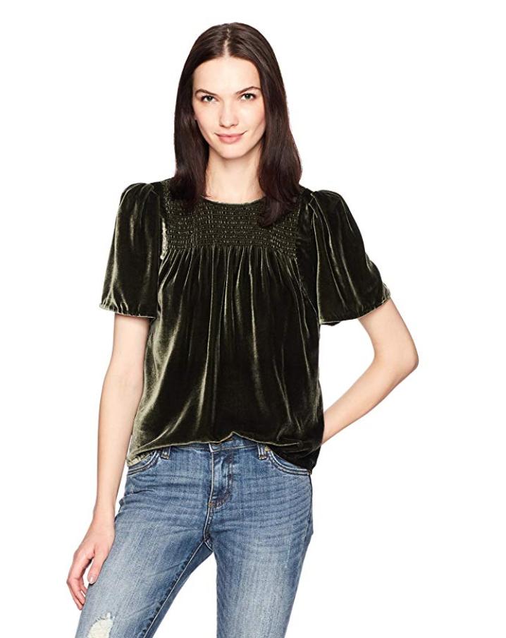 rebecca taylor womens short sleeve velvet top in green