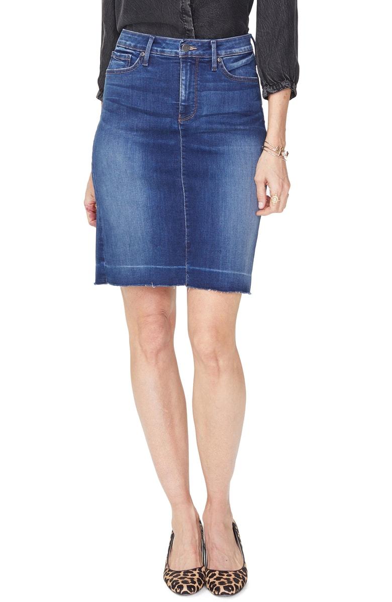 release hem stretch denim skirt on nordstrom by NYDJ
