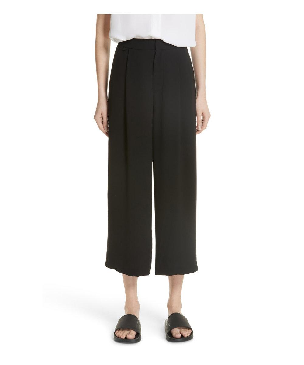 vince black wide leg trousers