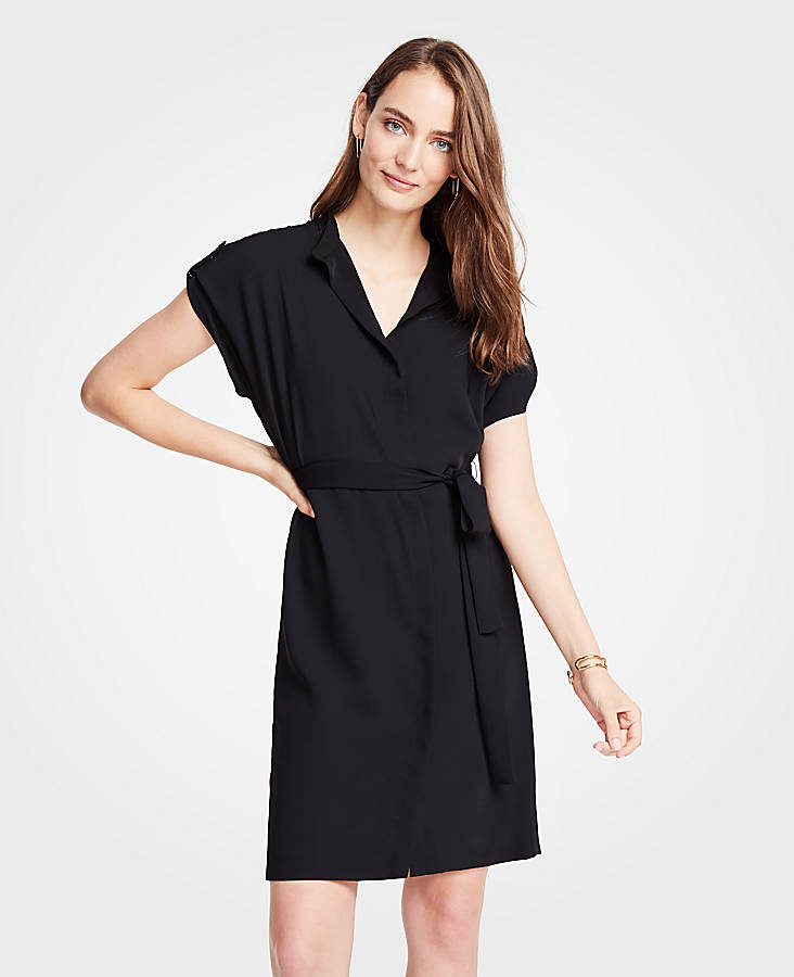 ann taylor black shirt dress