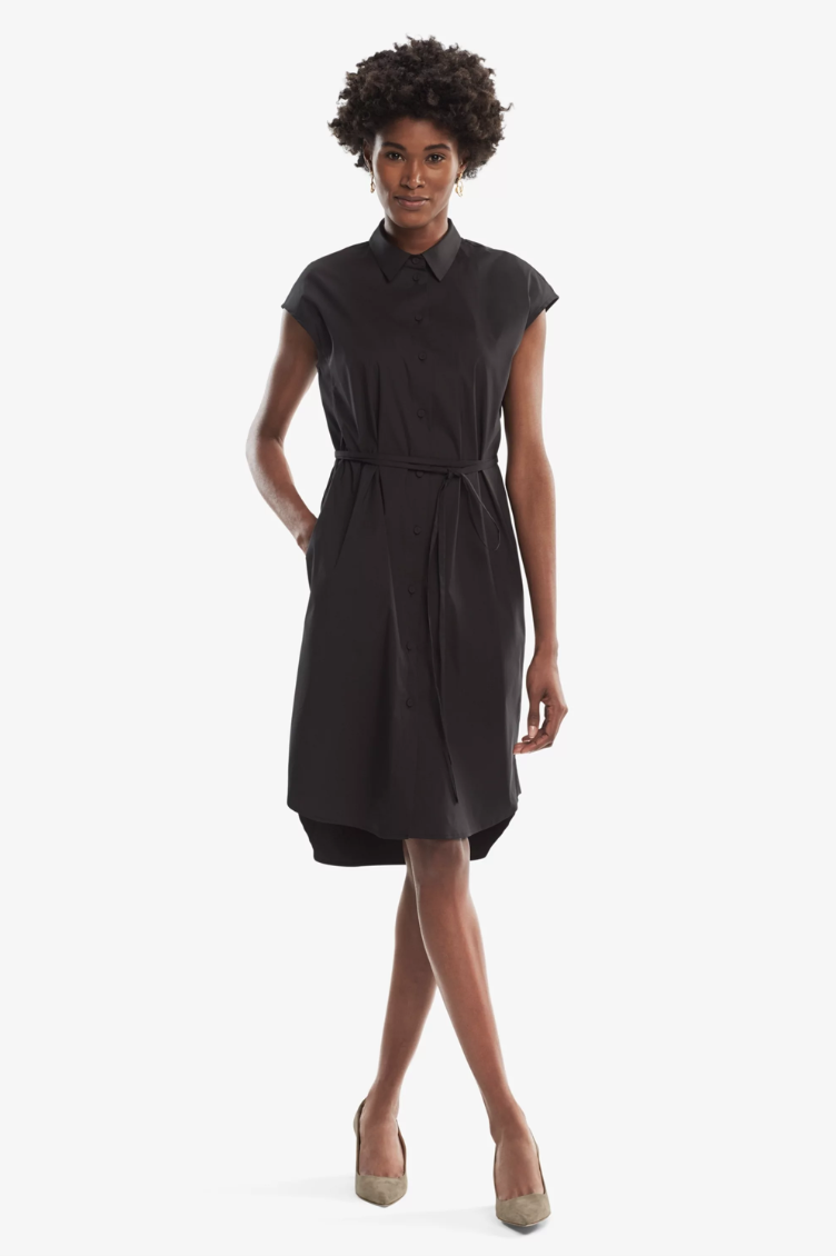 mm.lafleur black short sleeve shirt dress in poplin