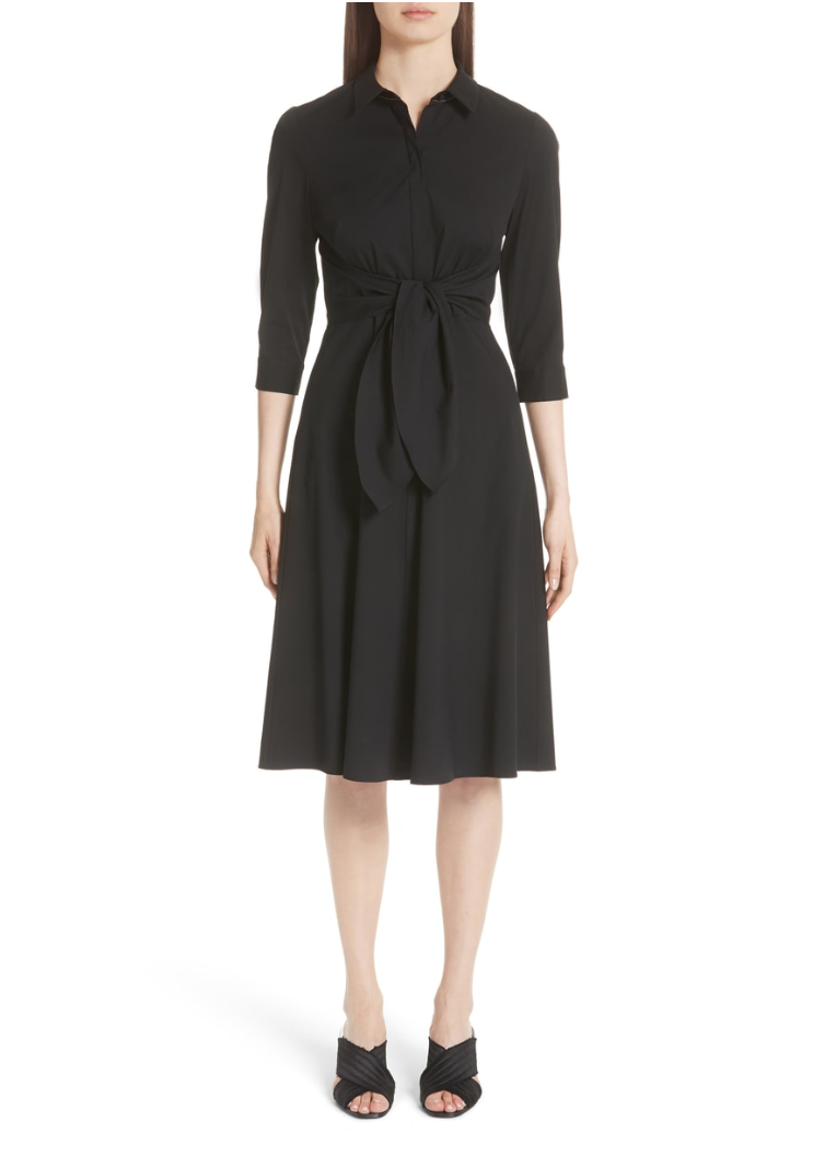 lafayette 148 black shirt dress with tie waist