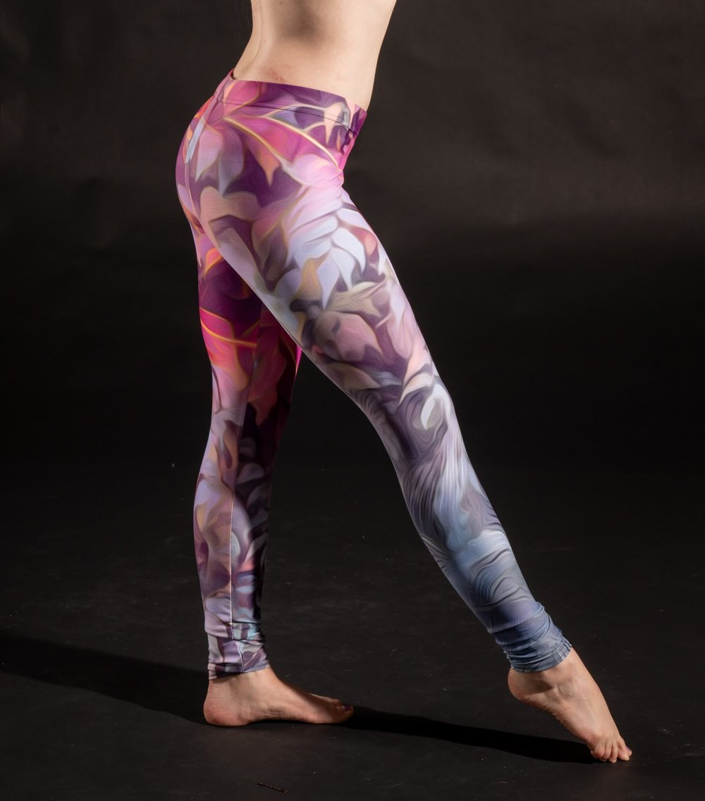 The wall of plants design (above) printed on leggings.