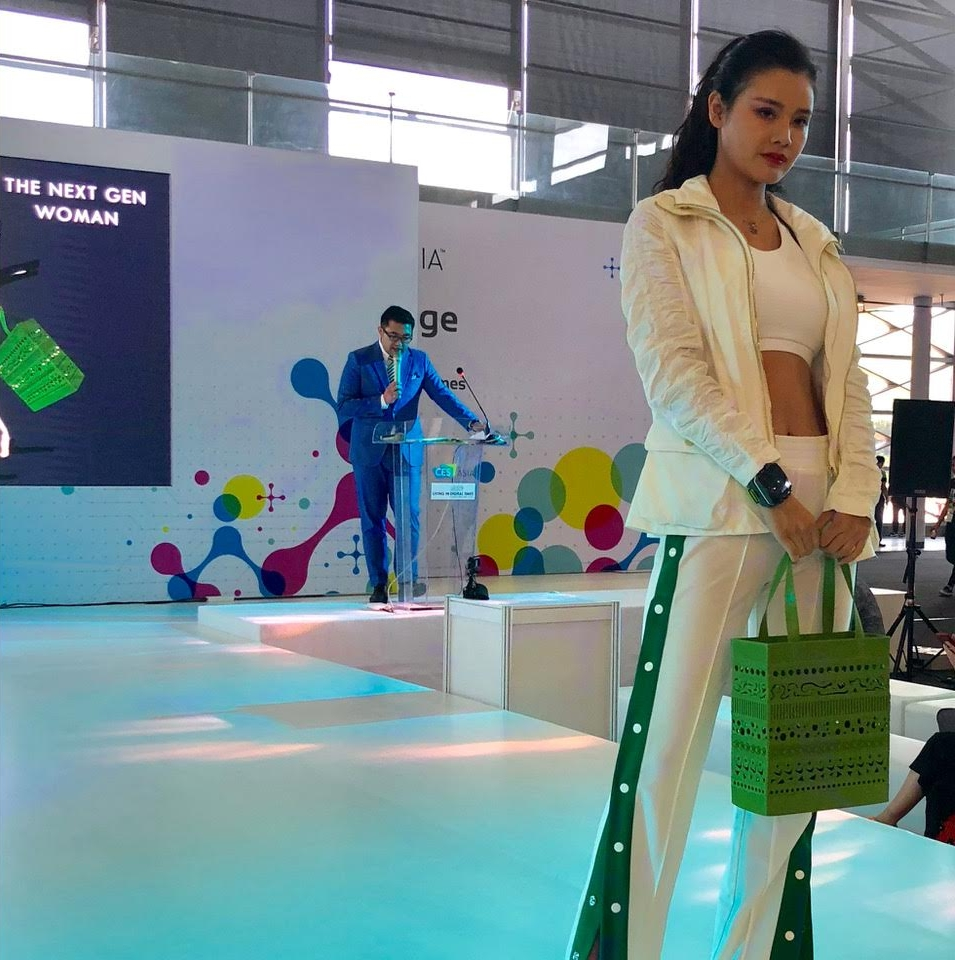 HEISEL 3D printed bag    made of compostable bioplastic at the CES Asia 2018 fashion show
