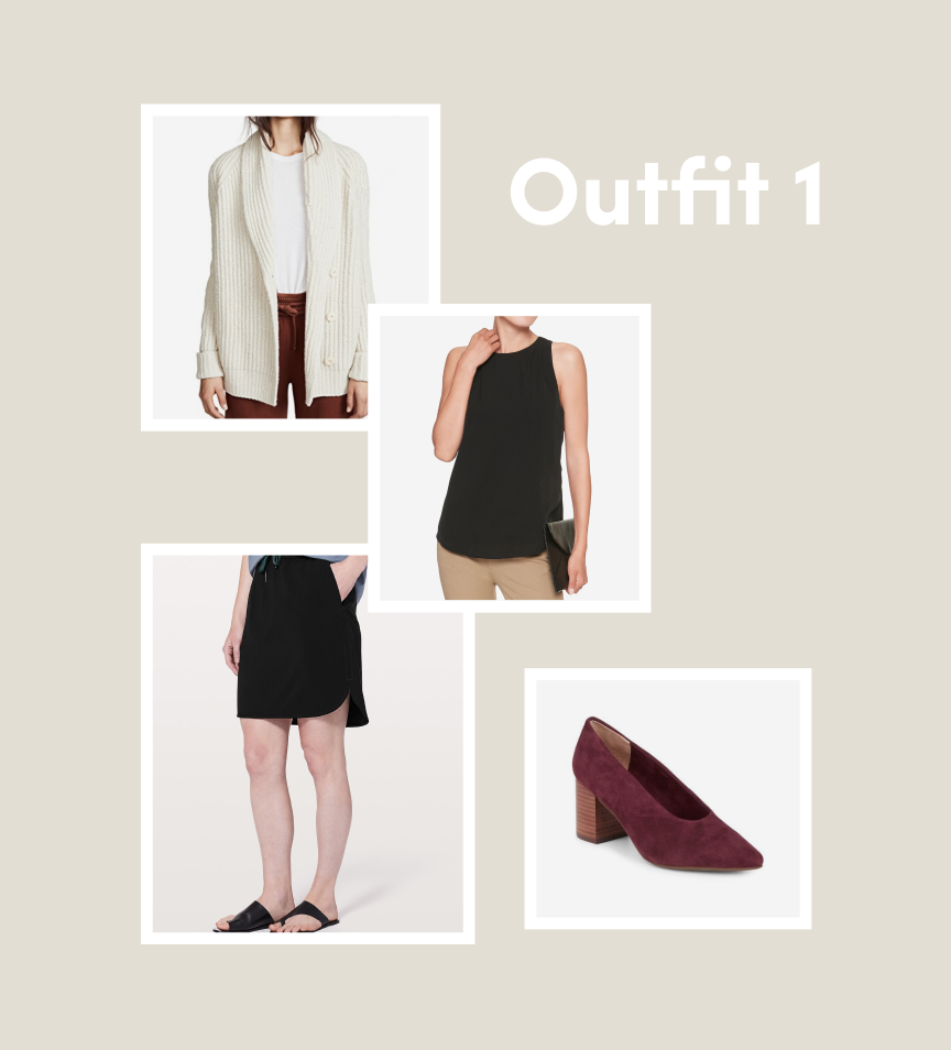 capsule algorithm, inspired by the capsule wardrobe, example outfit for fall 2018