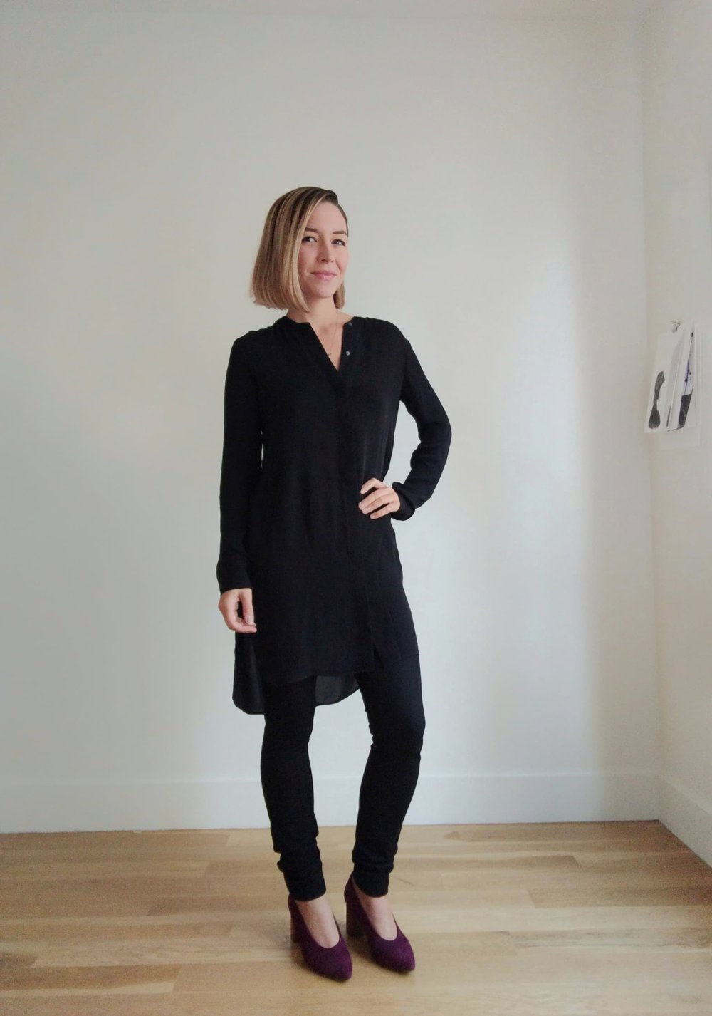 black silk shirtdress from aritzia paired with legging fit trousers from banana republic