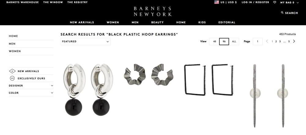 barney's black hoop earrings search results